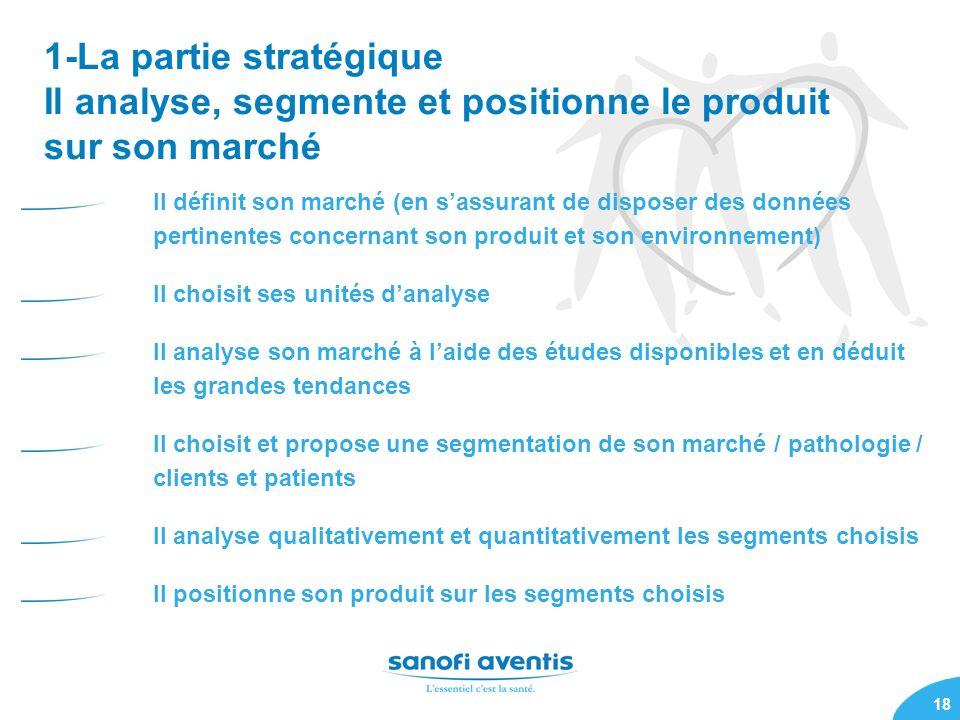 1-La partie stratégique Il analyse, segmente et positionne le produit sur son marché
