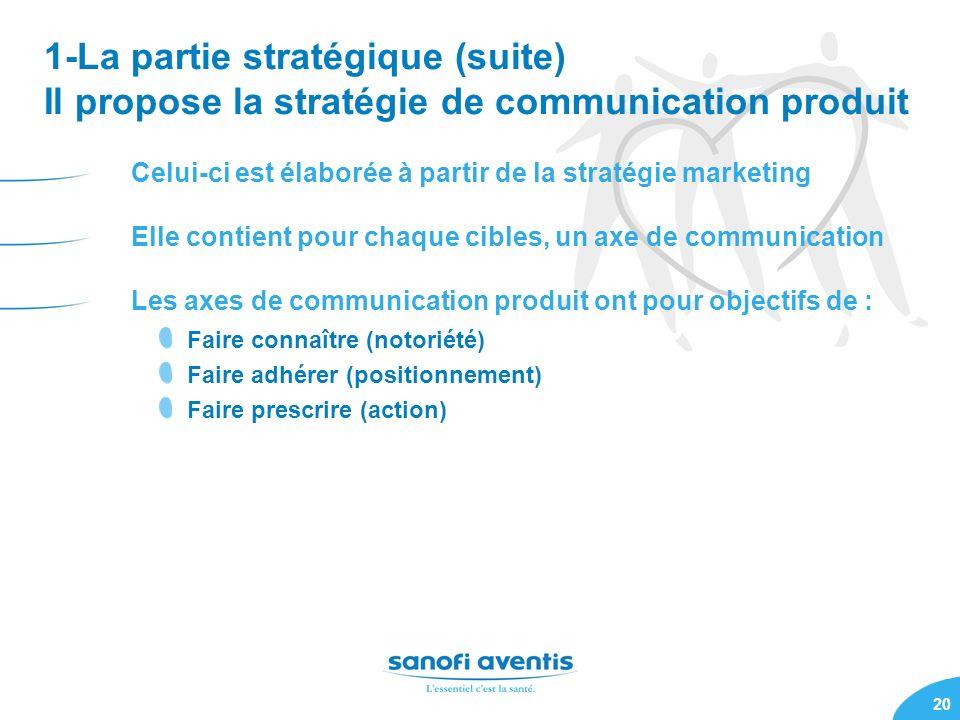 1-La partie stratégique (suite) Il propose la stratégie de communication produit