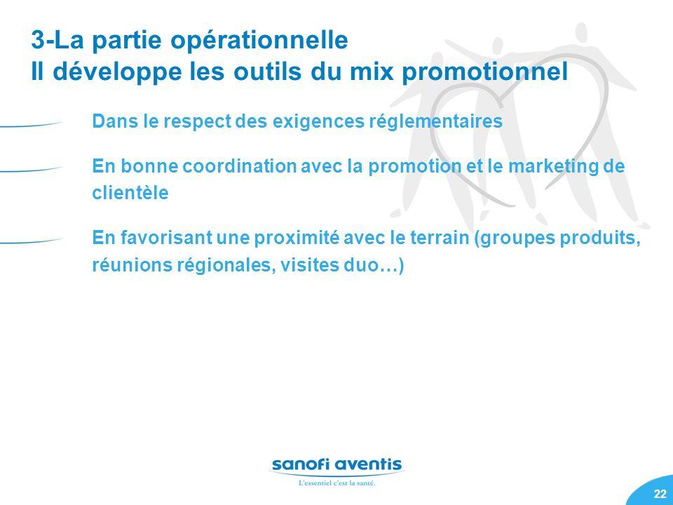 3-La partie opérationnelle Il développe les outils du mix promotionnel