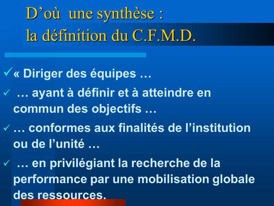 D'où une synthèse : la définition du C.F.M.D.