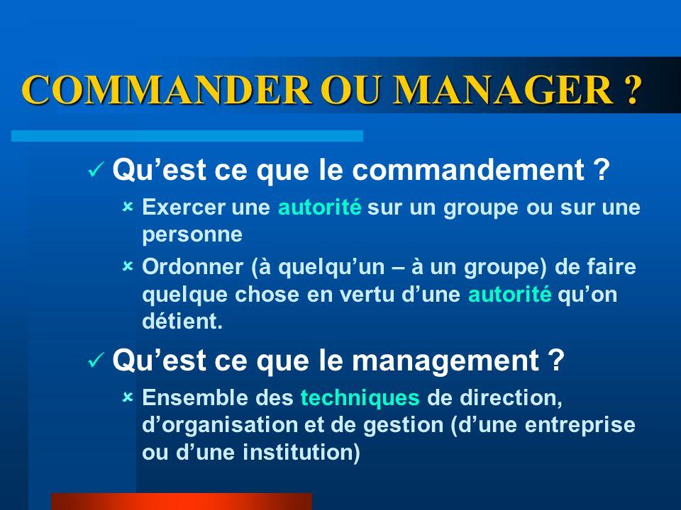COMMANDER OU MANAGER Qu'est ce que le commandement