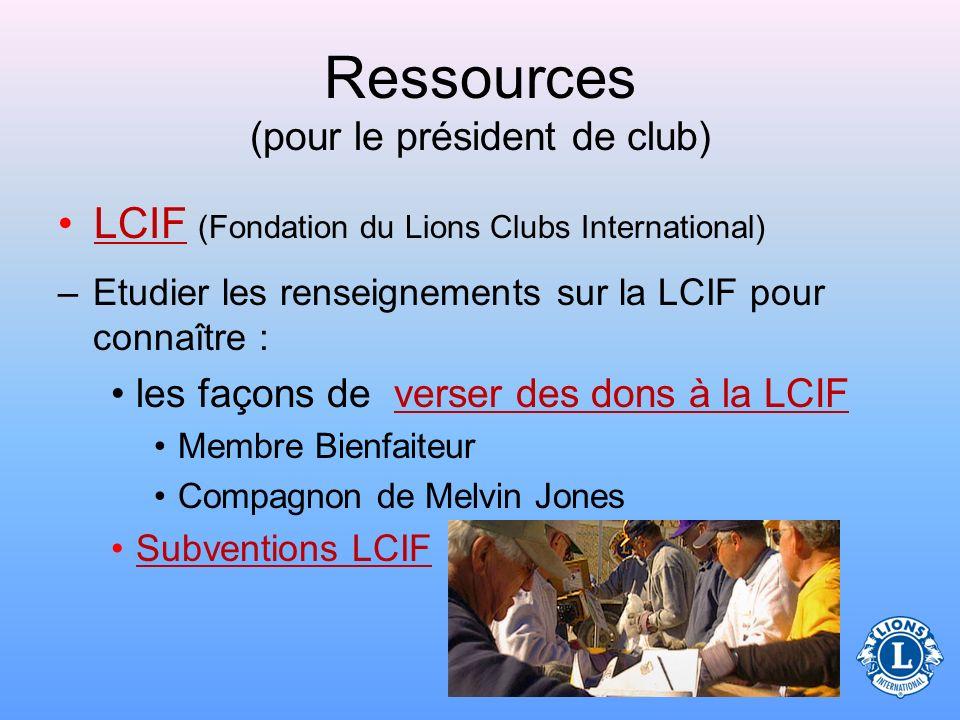 Ressources (pour le président de club)