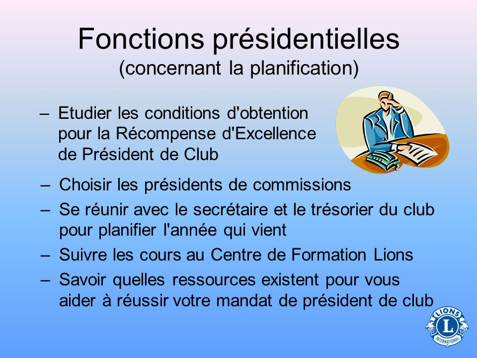 Fonctions présidentielles (concernant la planification)