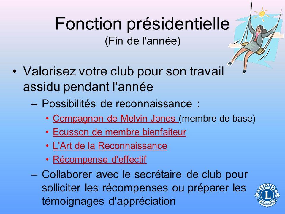 Fonction présidentielle (Fin de l année)
