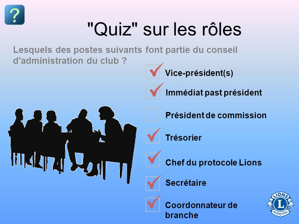 Quiz sur les rôles Lesquels des postes suivants font partie du conseil d administration du club