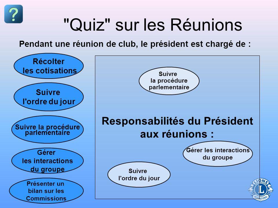 Responsabilités du Président aux réunions : Gérer les interactions