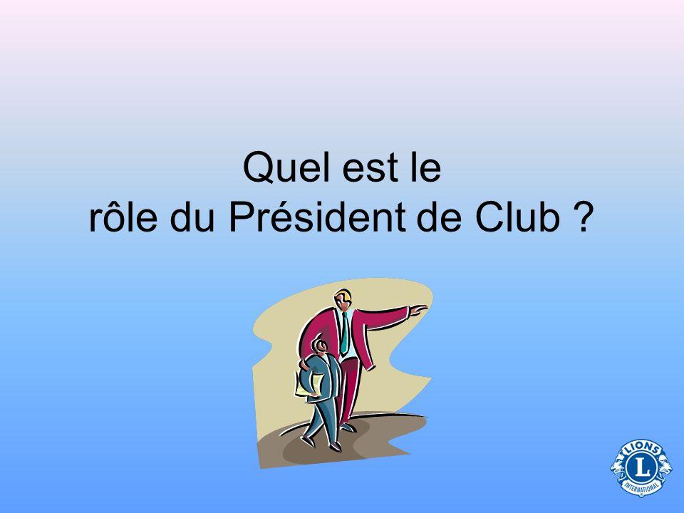 Quel est le rôle du Président de Club