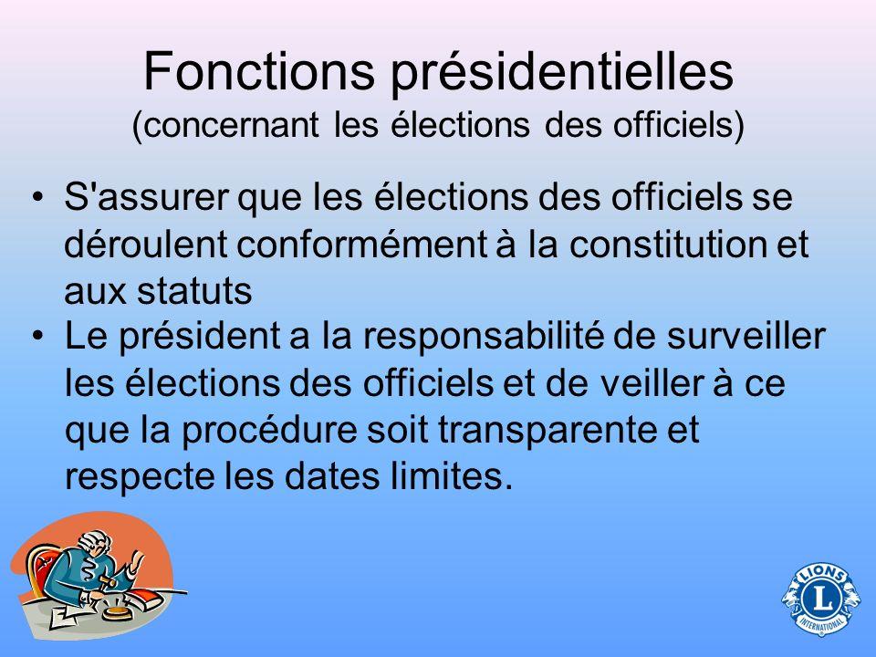 Fonctions présidentielles (concernant les élections des officiels)