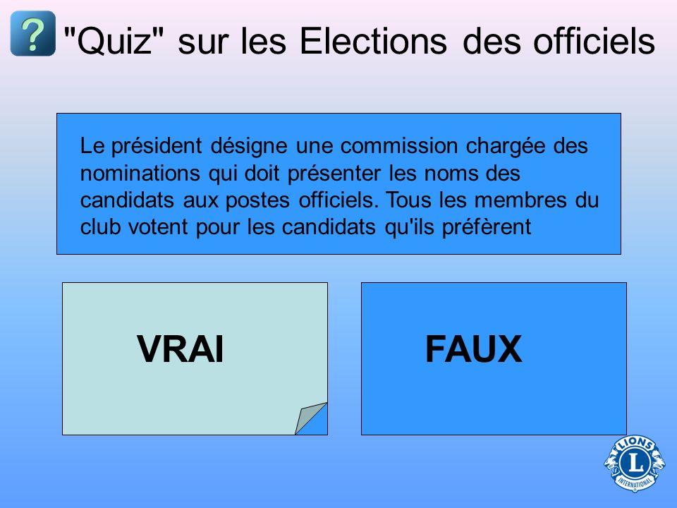 Quiz sur les Elections des officiels