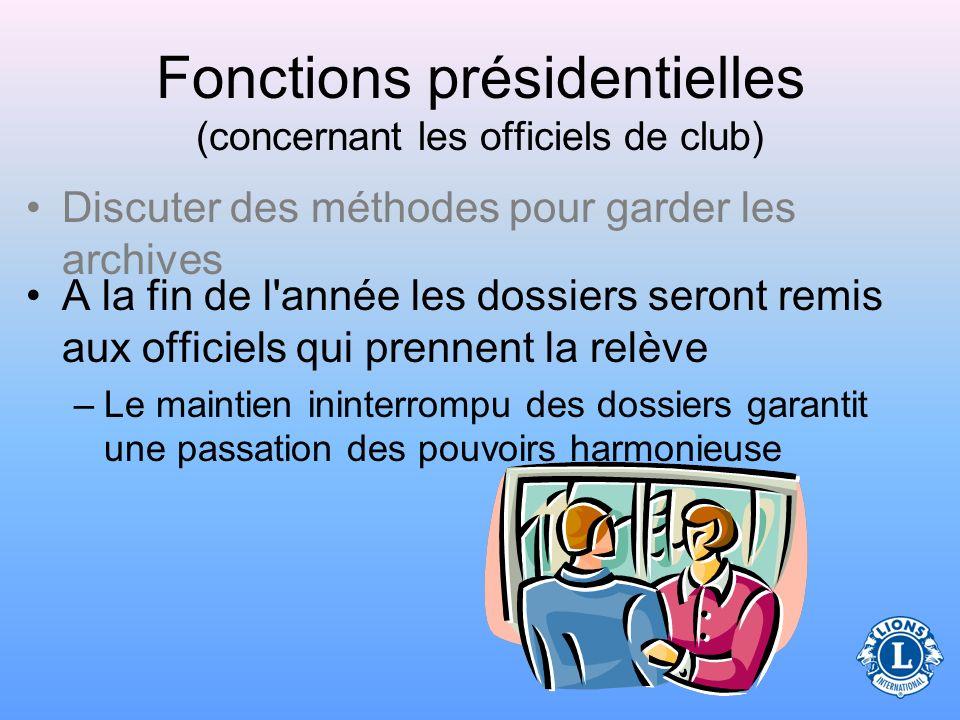 Fonctions présidentielles (concernant les officiels de club)