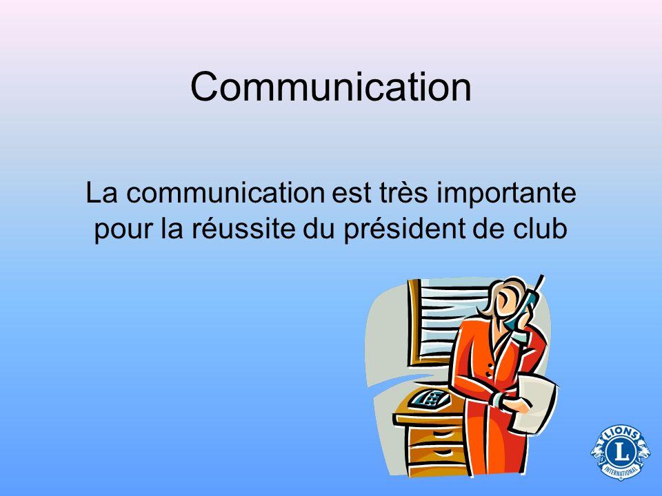 Communication La communication est très importante pour la réussite du président de club 11