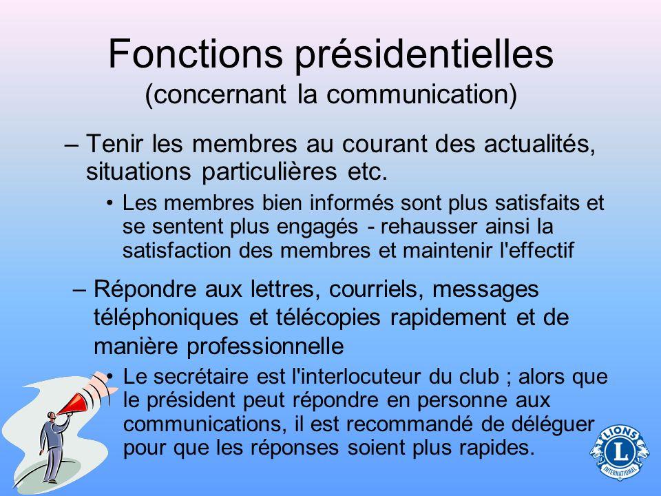 Fonctions présidentielles (concernant la communication)