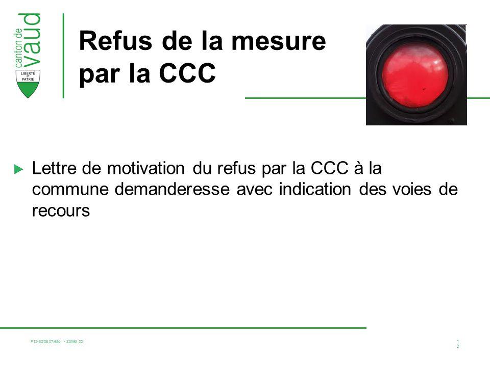 Refus de la mesure par la CCC