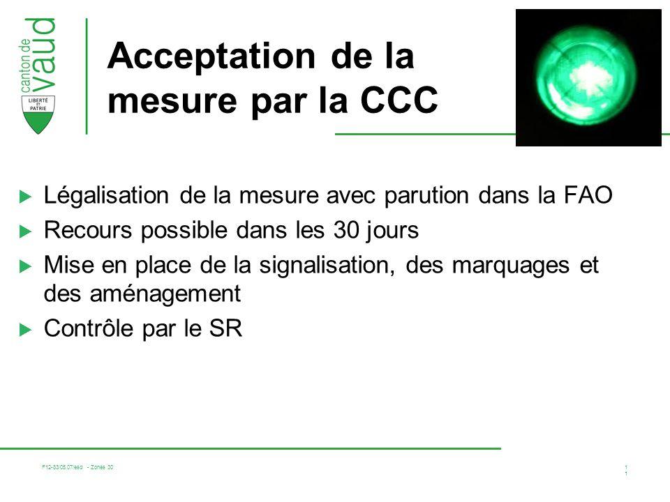 Acceptation de la mesure par la CCC