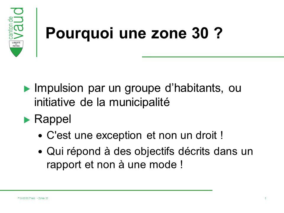 Pourquoi une zone 30 Impulsion par un groupe d'habitants, ou initiative de la municipalité. Rappel.