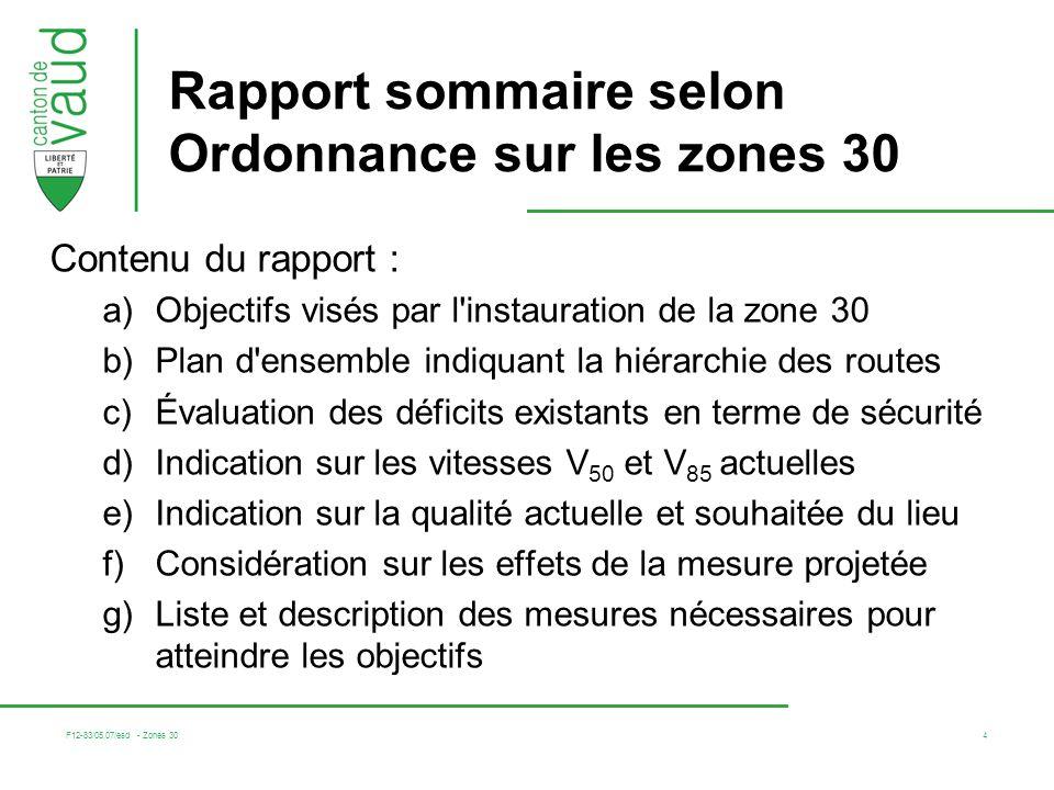 Rapport sommaire selon Ordonnance sur les zones 30