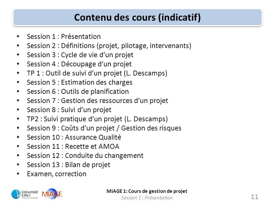 Contenu des cours (indicatif)