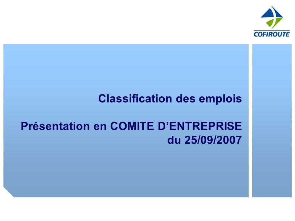 Classification des emplois Présentation en COMITE D'ENTREPRISE du 25/09/2007