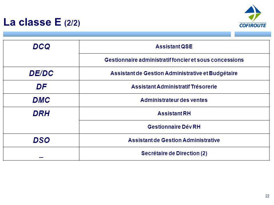 La classe E (2/2) DCQ DE/DC DF DMC DRH DSO _ Assistant QSE