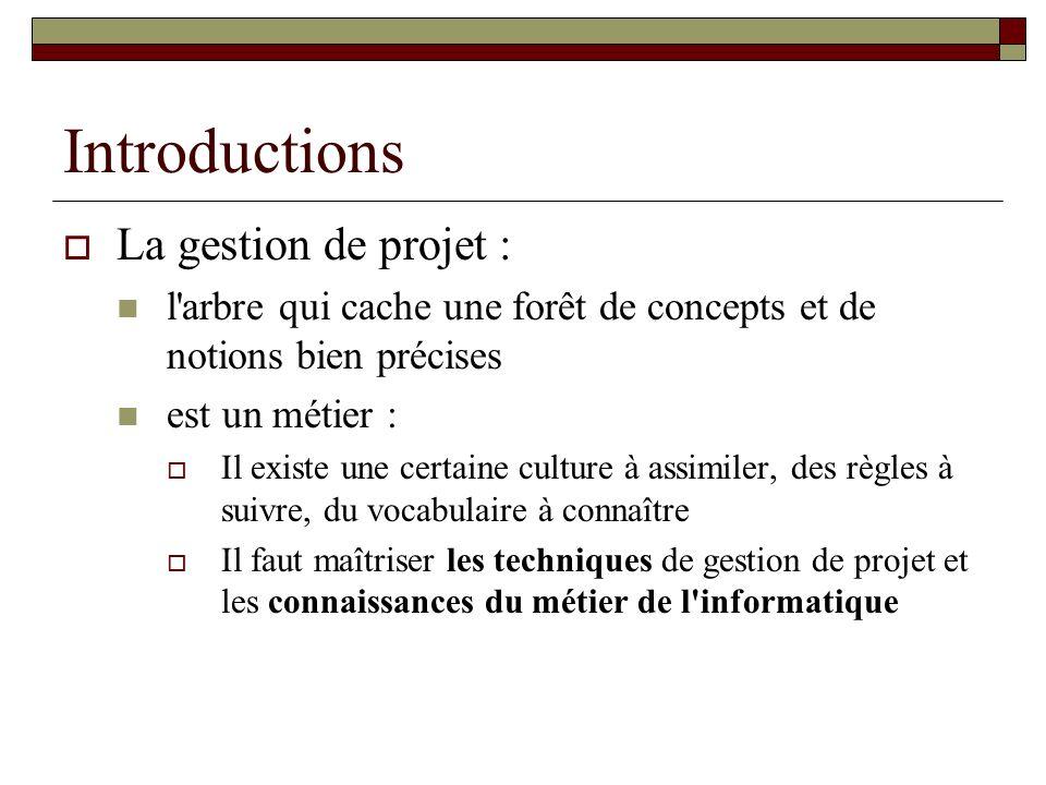 Introductions La gestion de projet :