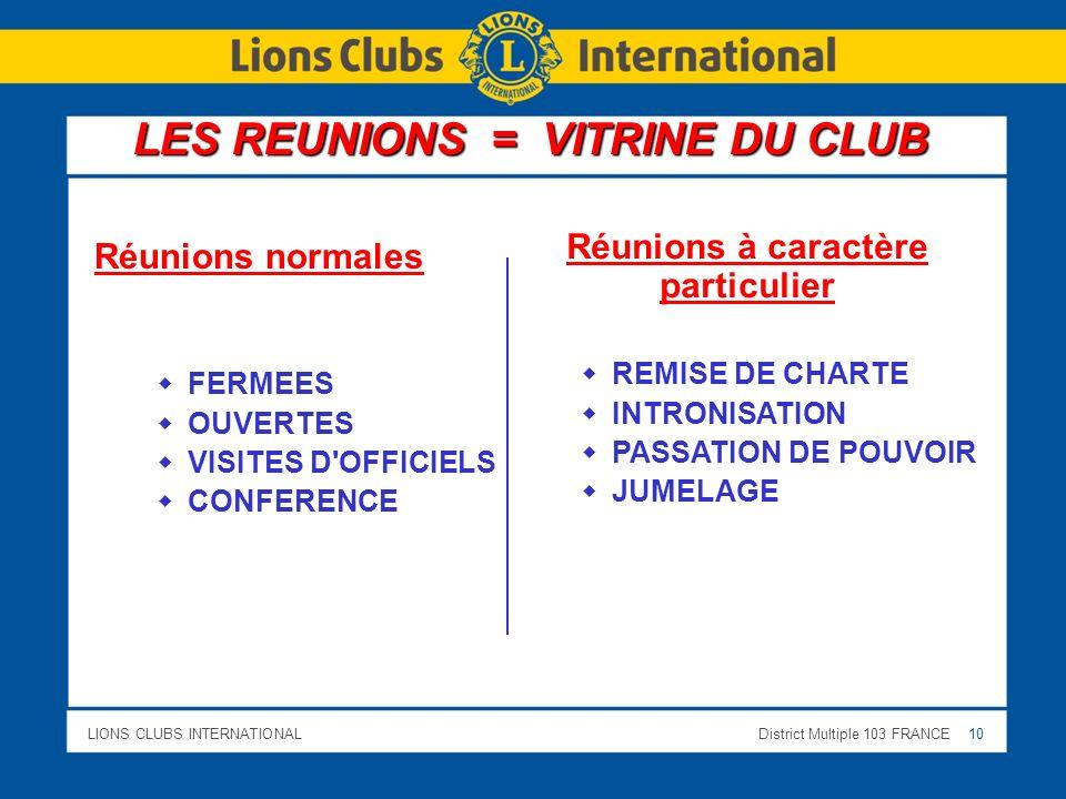 LES REUNIONS = VITRINE DU CLUB Réunions à caractère particulier