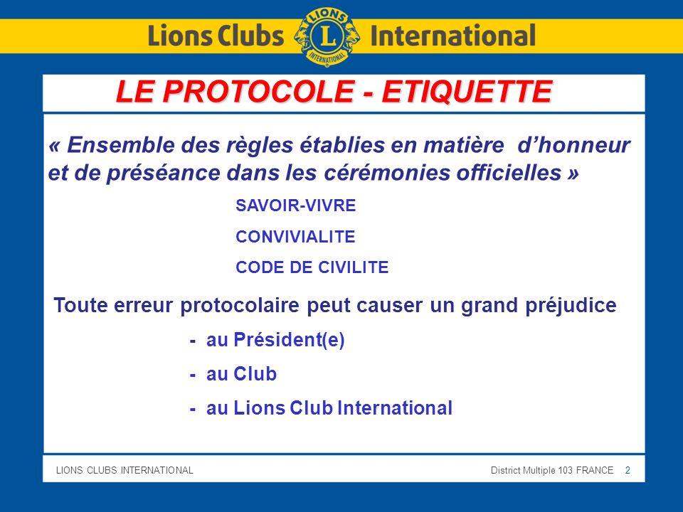 LE PROTOCOLE - ETIQUETTE