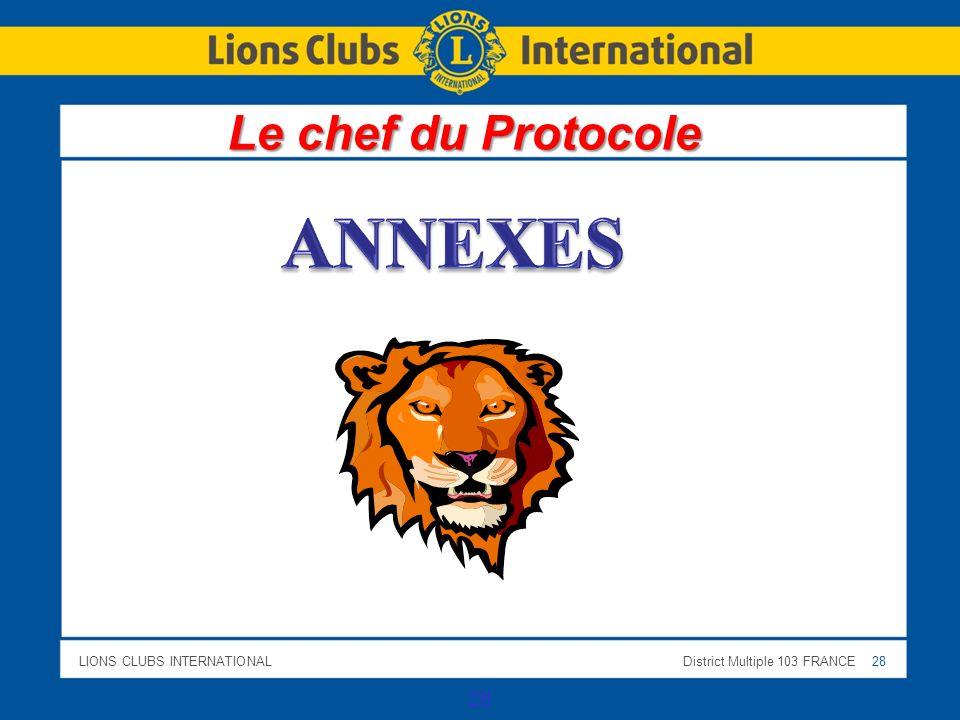 Le chef du Protocole ANNEXES