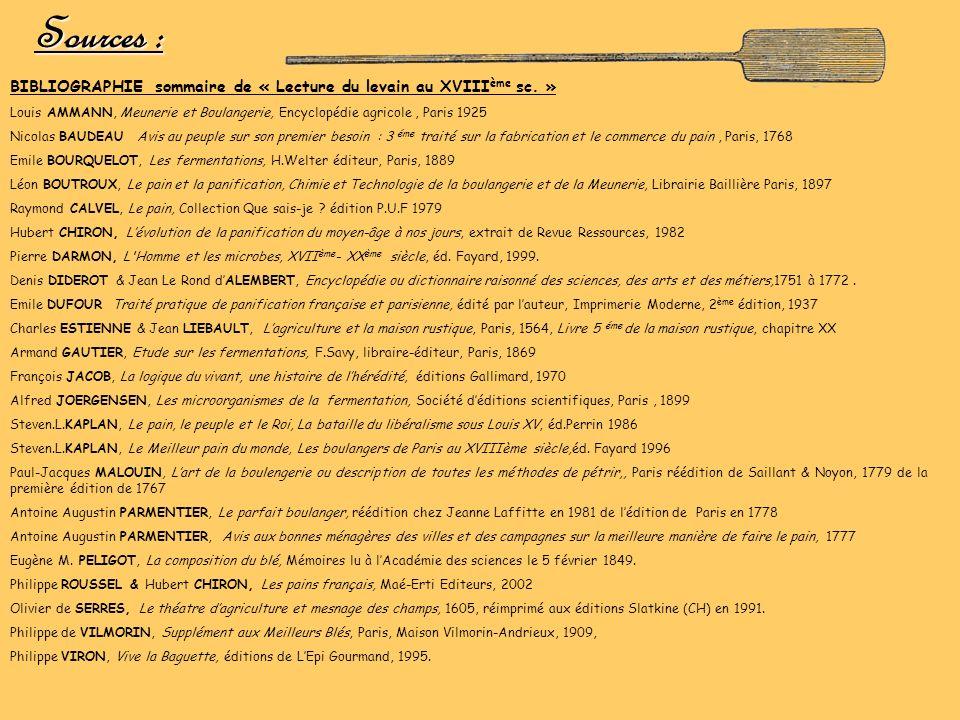 Sources : BIBLIOGRAPHIE sommaire de « Lecture du levain au XVIIIème sc. » Louis AMMANN, Meunerie et Boulangerie, Encyclopédie agricole , Paris 1925.