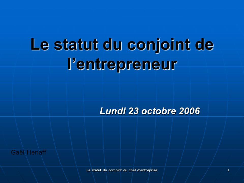 Le statut du conjoint de l'entrepreneur