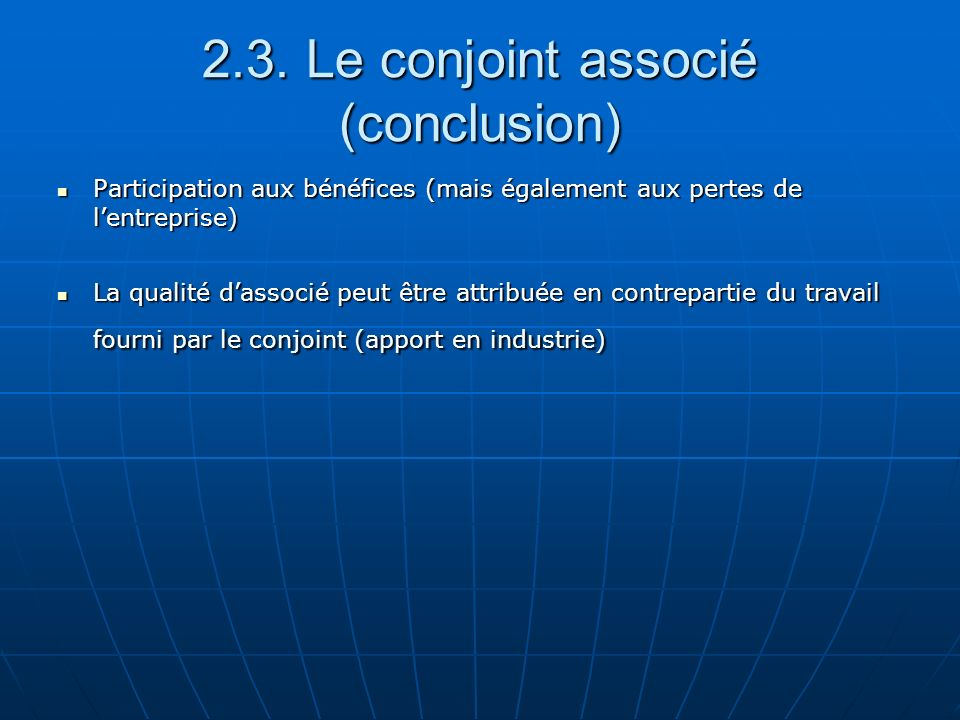 2.3. Le conjoint associé (conclusion)