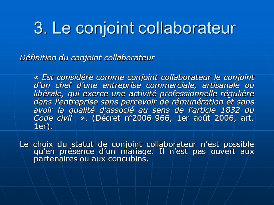 3. Le conjoint collaborateur