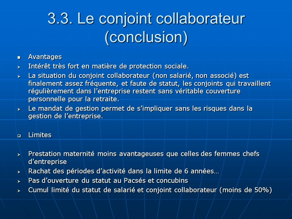 3.3. Le conjoint collaborateur (conclusion)