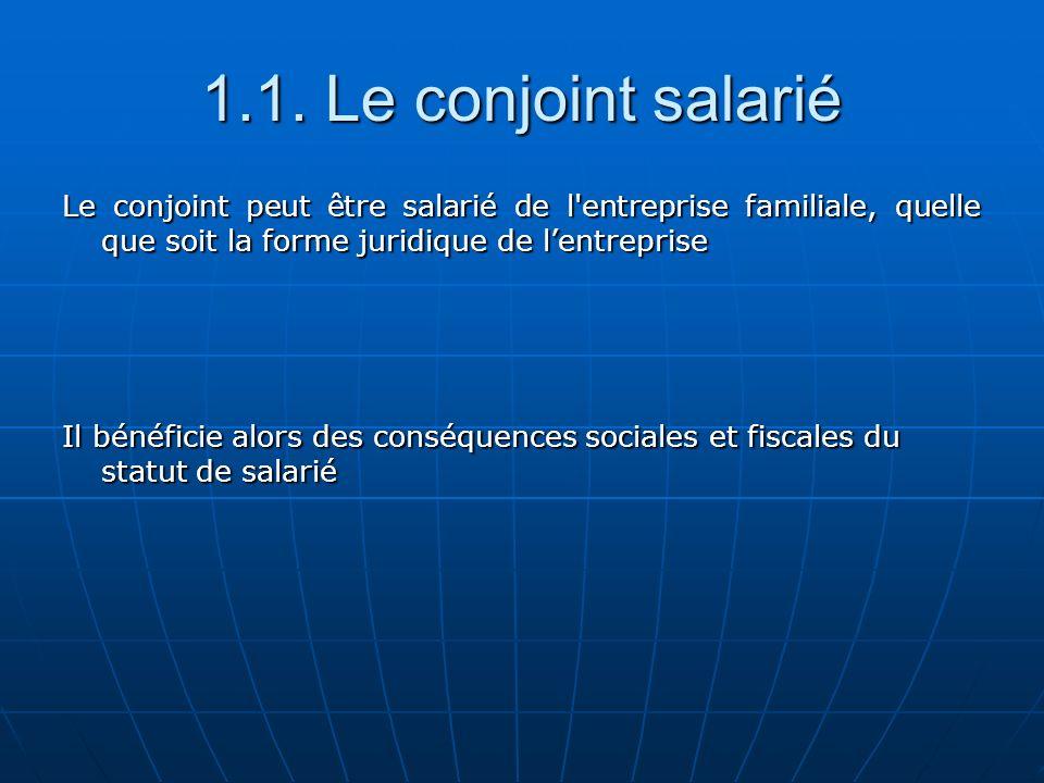 1.1. Le conjoint salarié Le conjoint peut être salarié de l entreprise familiale, quelle que soit la forme juridique de l'entreprise.