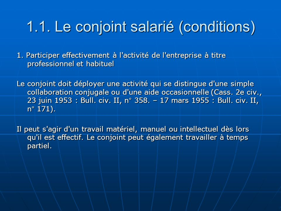 1.1. Le conjoint salarié (conditions)