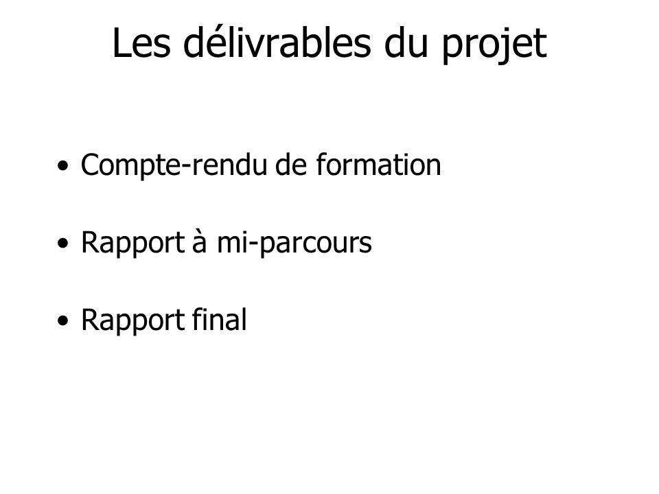 Les délivrables du projet
