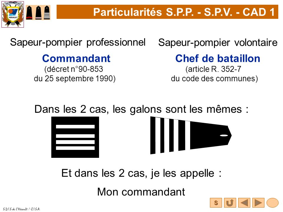 Particularités S.P.P. - S.P.V. - CAD 1