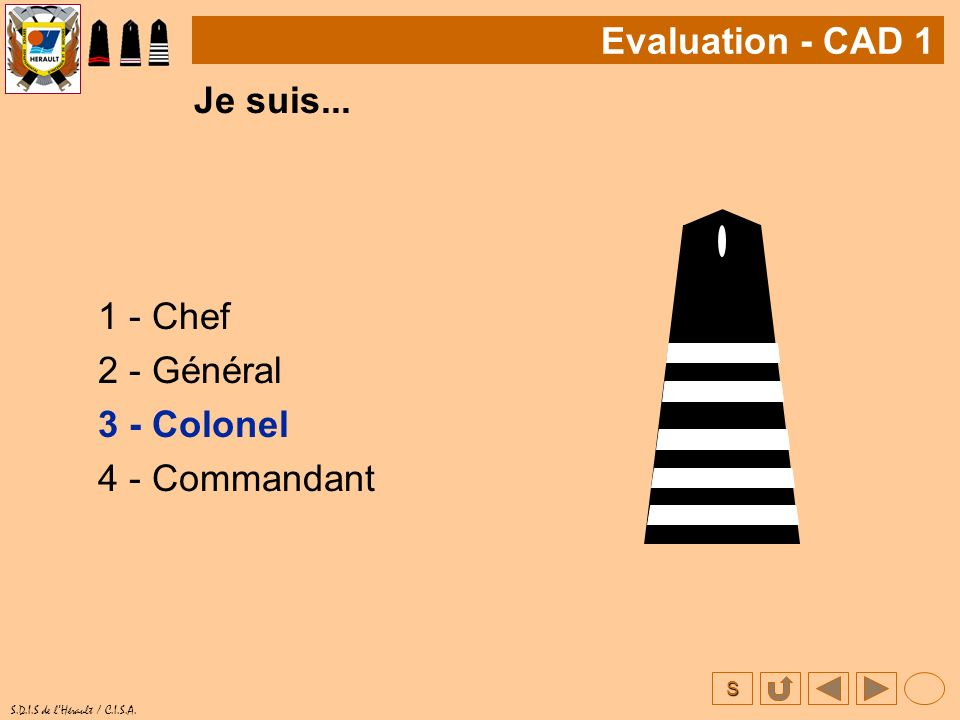 Evaluation - CAD 1 Je suis... 1 - Chef 2 - Général 3 - Colonel 4 - Commandant