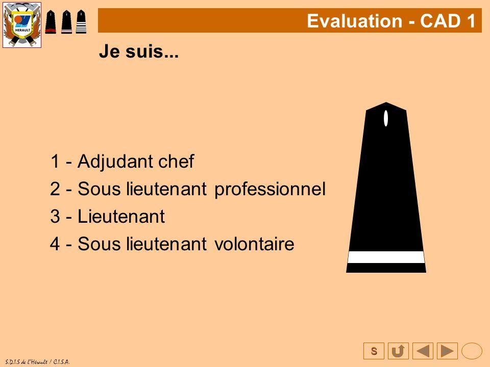 Evaluation - CAD 1 Je suis... 1 - Adjudant chef. 2 - Sous lieutenant professionnel. 3 - Lieutenant.