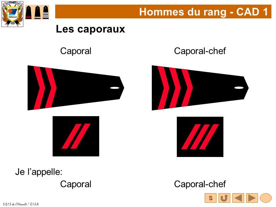 Hommes du rang - CAD 1 Les caporaux Caporal Caporal-chef Je l'appelle:
