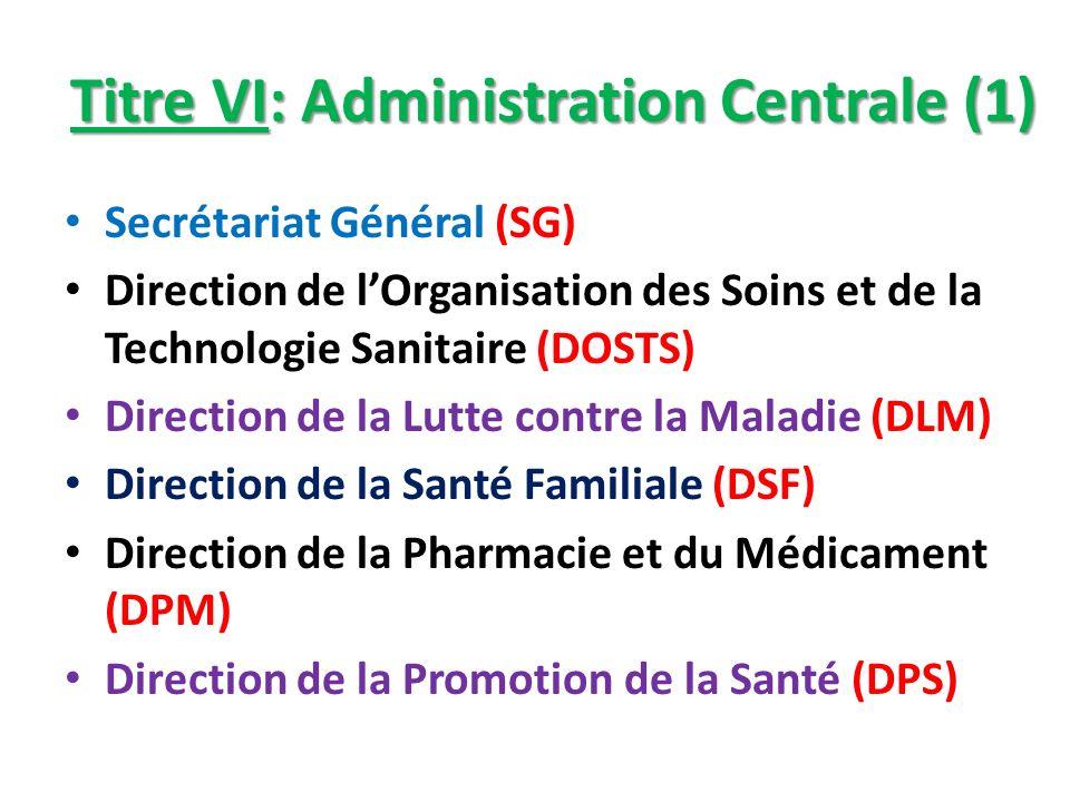 Titre VI: Administration Centrale (1)