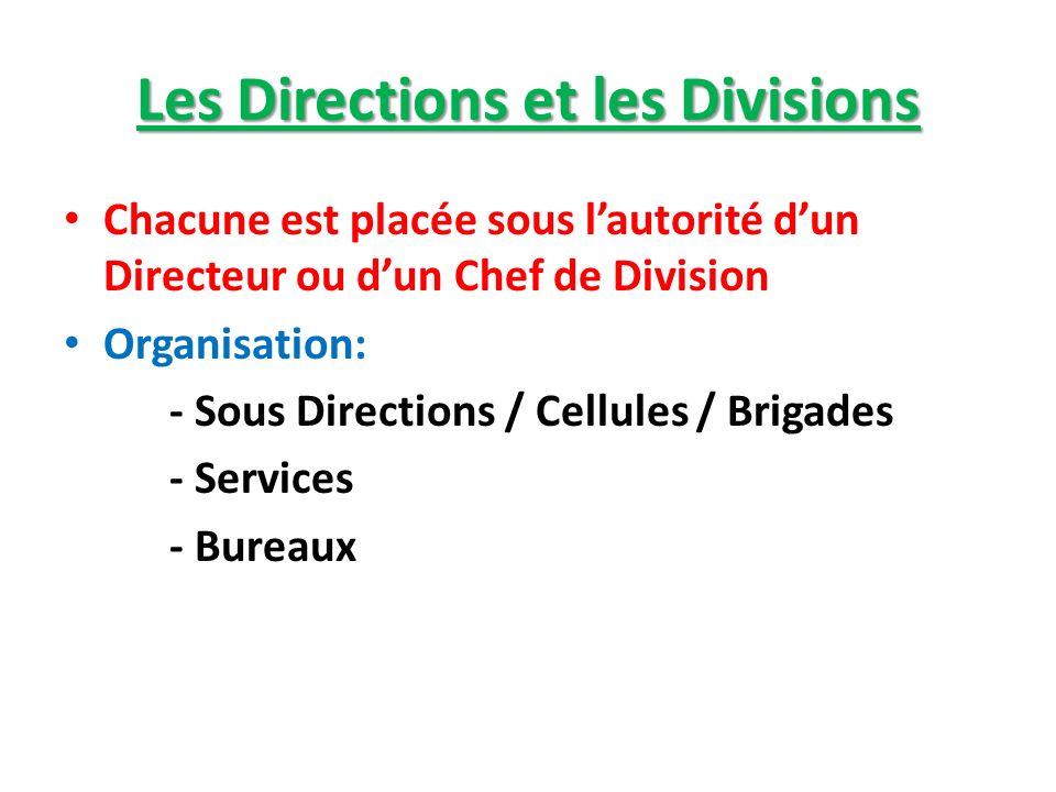 Les Directions et les Divisions