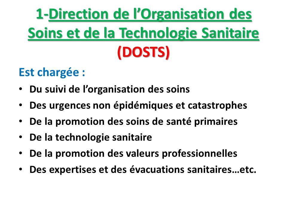1-Direction de l'Organisation des Soins et de la Technologie Sanitaire (DOSTS)