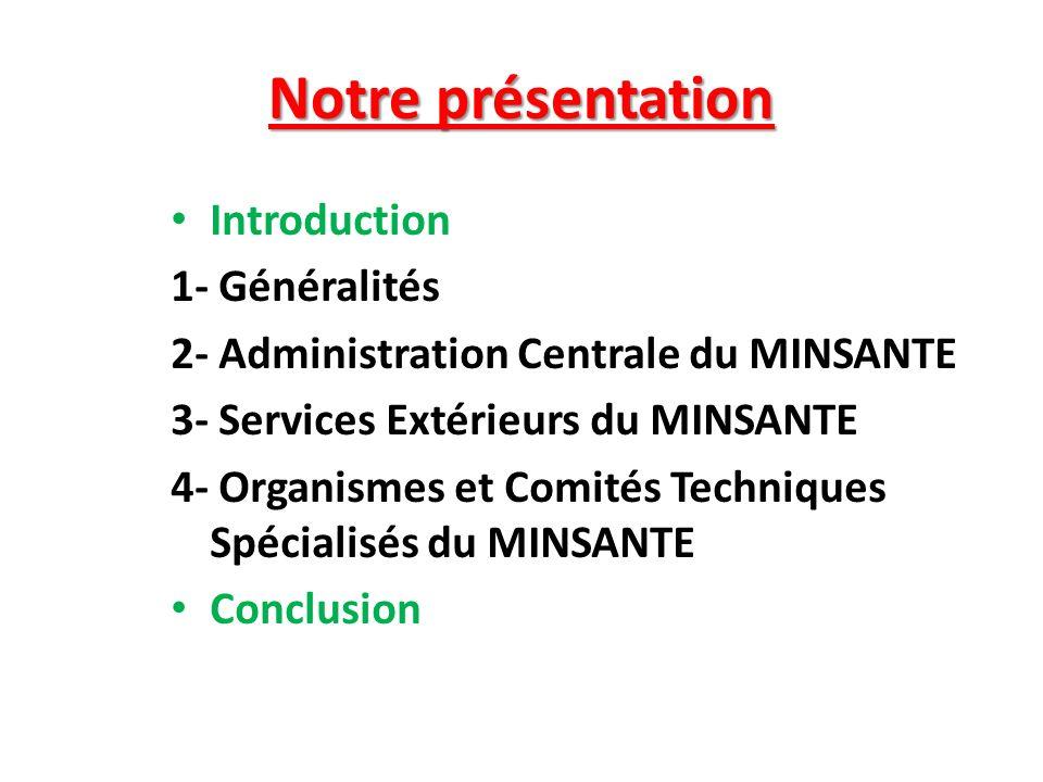 Notre présentation Introduction 1- Généralités