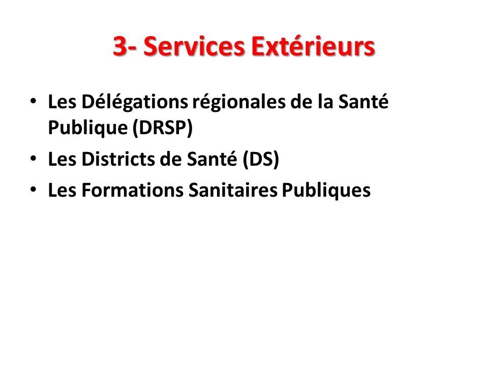 3- Services Extérieurs Les Délégations régionales de la Santé Publique (DRSP) Les Districts de Santé (DS)