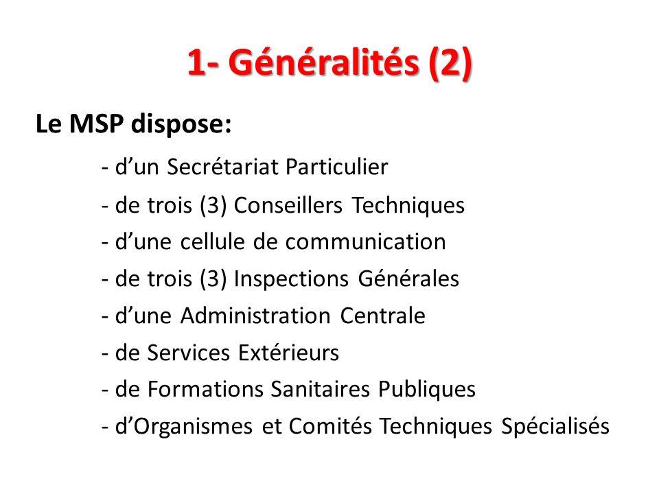 1- Généralités (2) Le MSP dispose: - d'un Secrétariat Particulier