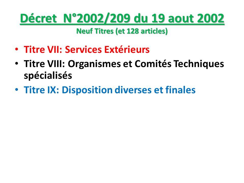Décret N°2002/209 du 19 aout 2002 Neuf Titres (et 128 articles)