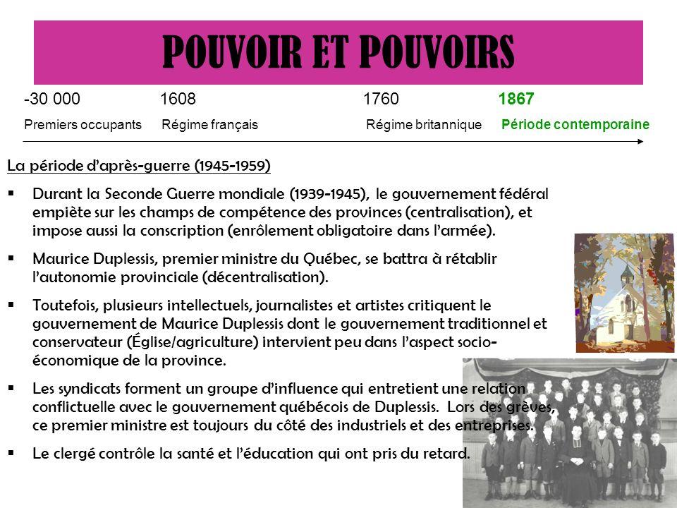 POUVOIR ET POUVOIRS -30 000 1608 1760 1867. Premiers occupants Régime français Régime britannique Période contemporaine.