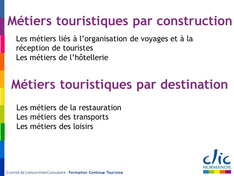 Métiers touristiques par construction