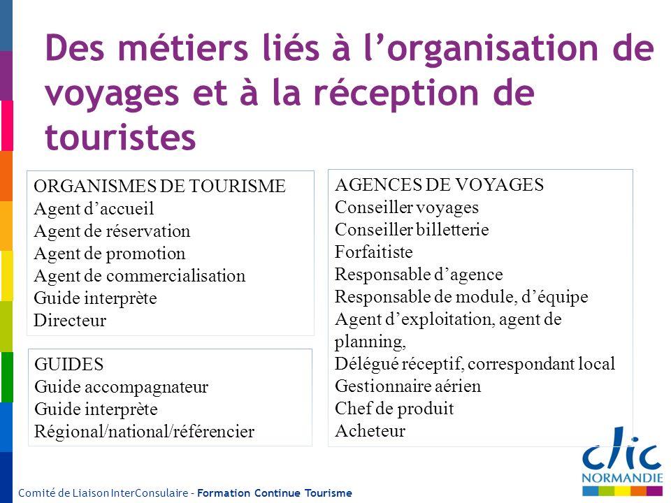 Des métiers liés à l'organisation de voyages et à la réception de touristes
