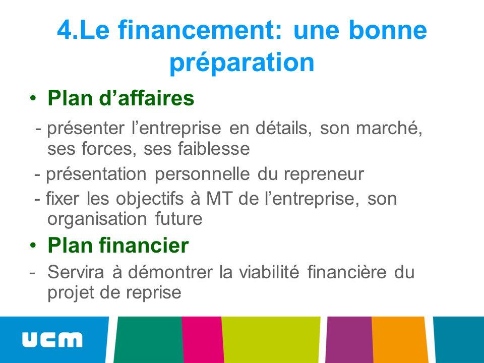4.Le financement: une bonne préparation